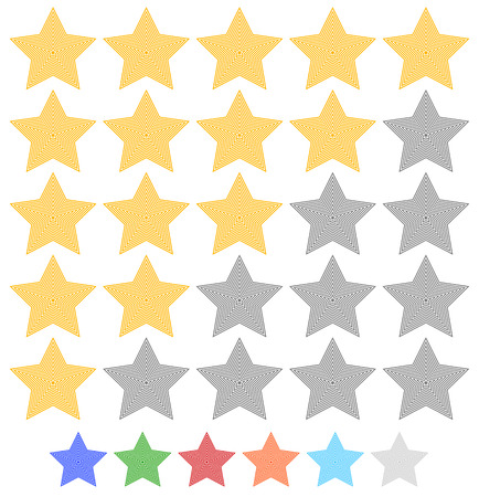 Star rating element with contour stars. 7 colors included. Vektorové ilustrace