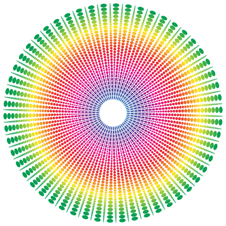 tinge: Abstract spectrum colored radial, dotted element with oval shapes.