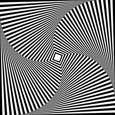 rotating: Squares with rotating distortion abstract monochrome vector graphic.