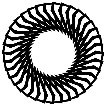 mesmerize: Abstract monochrome circular, spirally element on white.