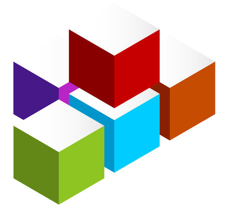 stacked: Stacked 3D cubes colorful icon on white. Isometric cubes.