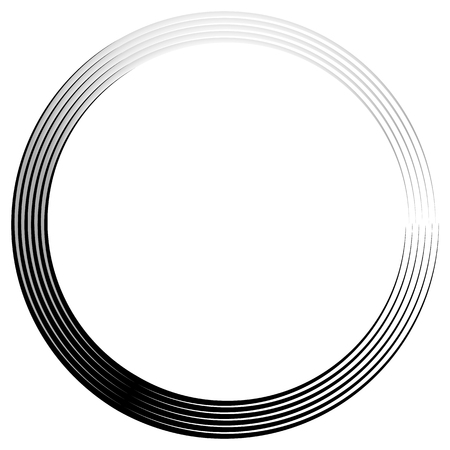 concentric: Concentric, radiating circle graphics isolated on white