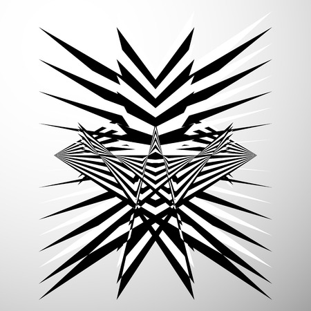 edgy: Abstract crumpled, distorted shape. Geometric, edgy element