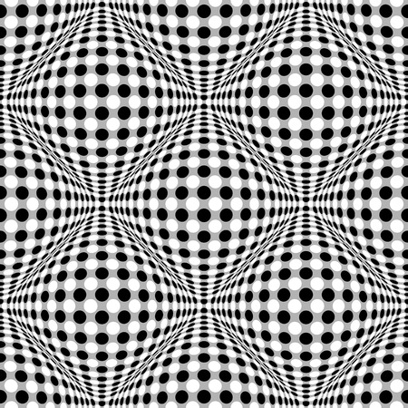 salient: Seamless 3d dotted pattern with bulging distortion effect