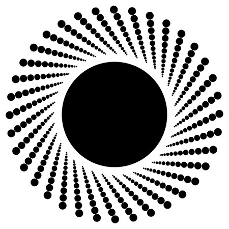 centric: Abstract monochrome graphic with radiating dotted pattern
