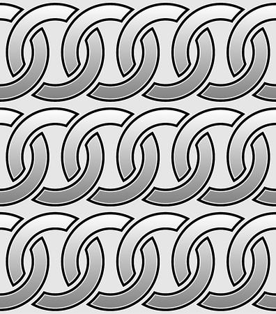 interlocking: Contour of interlocking circles  rings seamless monochrome pattern.