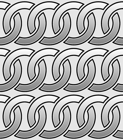 Contour of interlocking circles  rings seamless monochrome pattern.