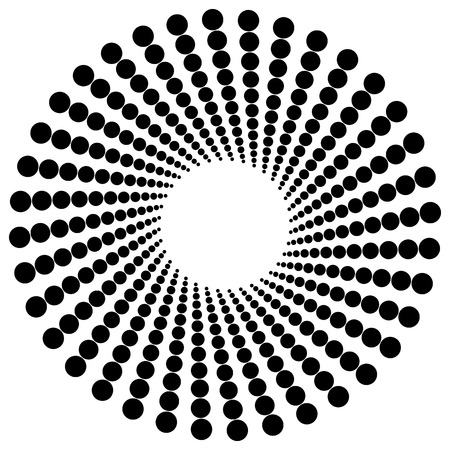 radiating: Abstract monochrome graphic with radiating dotted pattern