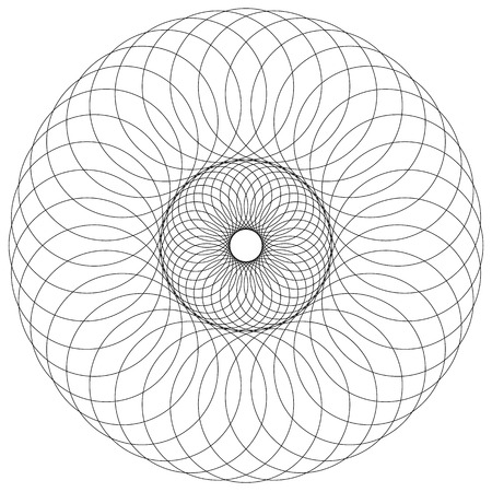 abstractionism: Abstract circular, spiral element isolated. Monochrome graphic.