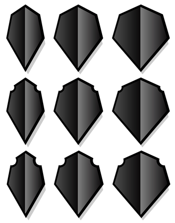 elongated: Set of various shield shapes. Thin, thick and beveled versions.