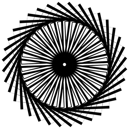 whorl: Abstract monochrome circular, spirally element on white.