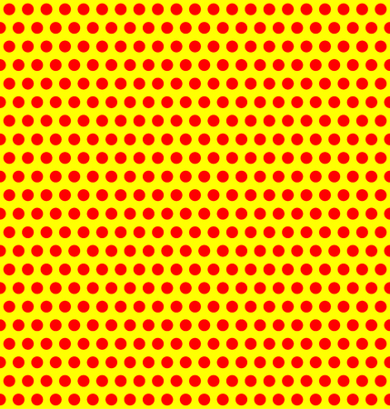 duotone: Repeatable duotone, yellow-red pop-art polka dot pattern.
