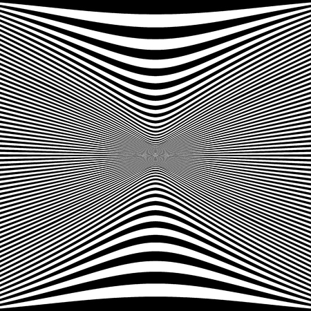 curvature: Abstract pattern with distorted lines. Monochrome geometric illustration. Illustration