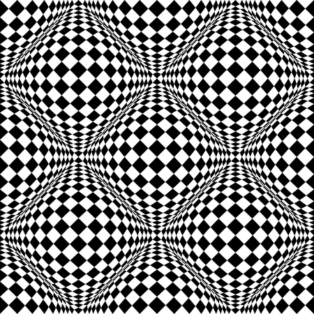 distortion: Seamless 3d pattern with mosaic of squares with bulging distortion effect. Protuberant volumetric background. Illustration