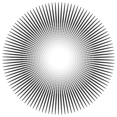 Abstract radial, dotted element with oval shapes. Vetores