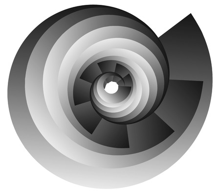 volute: Spiral, vortex or volute element isolated on white. Rotating abstract shape with grayscale gradient. Illustration