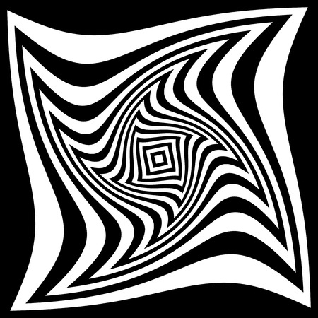 amorphous: Squares with rotating distortion abstract monochrome vector graphic.