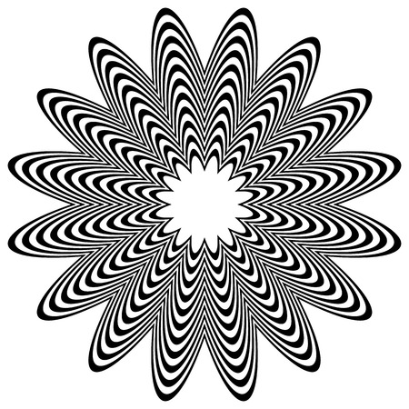 radiating: Radiating object with distortion. Abstract wrinkled, corrugated rounded shape. Illustration