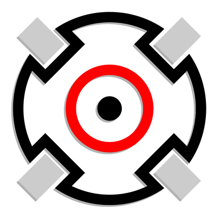 sharpshooter: Crosshair, target mark icon, symbol. Accuracy, focus, precision concepts. Illustration