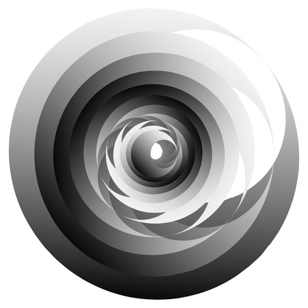 revolve: Spiral, vortex or volute element isolated on white. Rotating abstract shape with grayscale gradient. Illustration