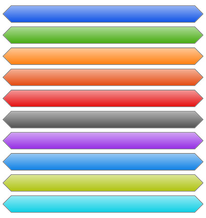 corner tab: Set of banner, button, plaque backgrounds (10 colors)