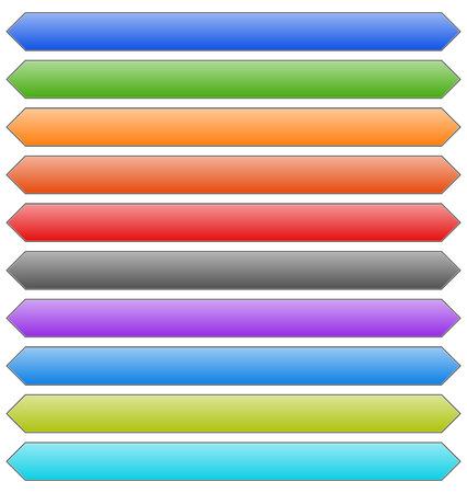 elongated: Set of banner, button, plaque backgrounds (10 colors)