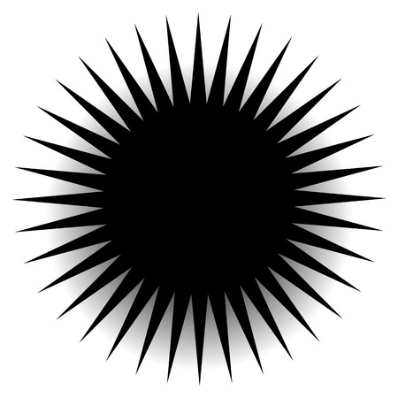Spiky, pointed shape with blank space. abstract minimal monochrome graphics