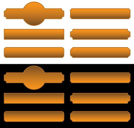 letreros: Conjunto de se�ales de metal, banners. 6 letreros met�licos diferentes, en las placas de identificaci�n. Vectores