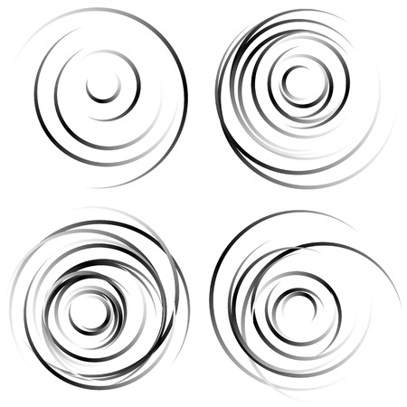 torsion: Abstract spiral shapes - Spirally, whirling circular element set. Illustration