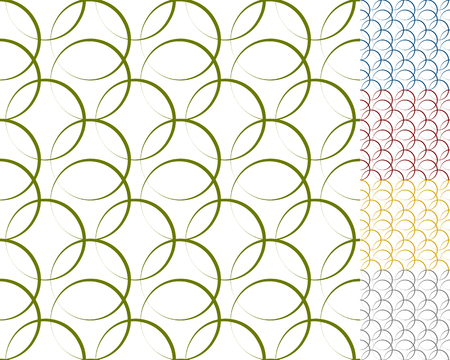 back ground: Interlocking circles, rings with dynamic outline - Set of 5 seamless pattern background