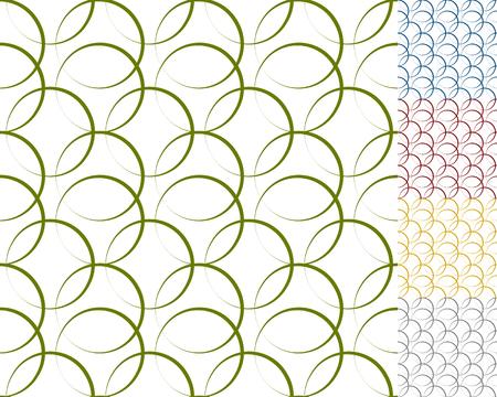 interlocking: Interlocking circles, rings with dynamic outline - Set of 5 seamless pattern background