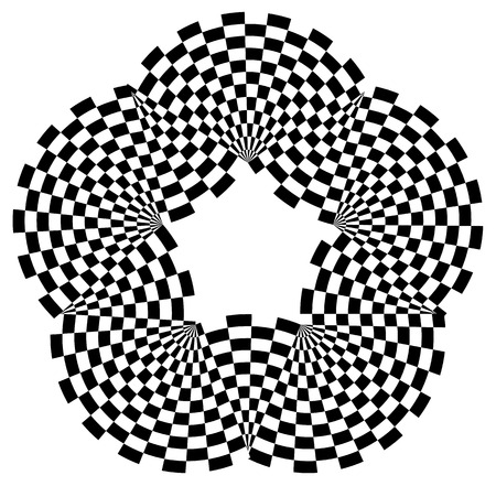 checkered pattern: Rounded shape with checkered pattern fill. Contrasty abstract graphical element.