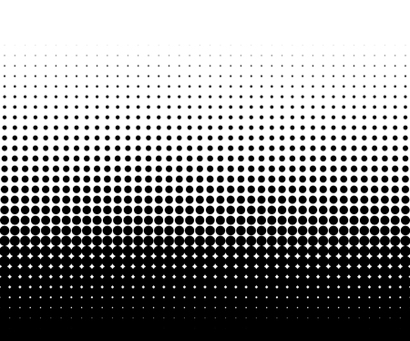 Círculo elemento de medias tintas, gráfico abstracto blanco y negro de DTP, preimpresión o conceptos genéricos. Ilustración de vector