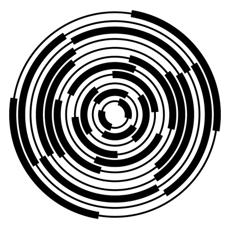 epicentre: Abstract radial, concentric circles, rings. Monochrome visual element on white.