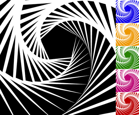 eddy: Abstract background set with concentric rotating contour lines. Set of 6 colors