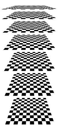 diminishing perspective: Checkerboards, chessboards, checkered planes in different perspective. Tilted, vanishing empty marble, pepita floors