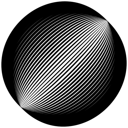 lined: Lined circle element. Diagonal lines forming a circle.