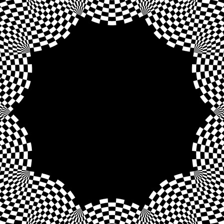 b w: Checkered circular element. Abstract monochrome graphic with squared, checkered pattern.