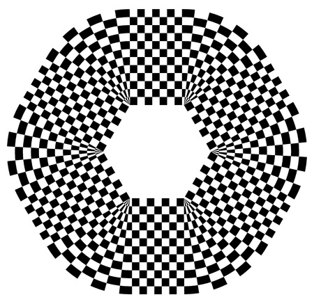 contrasty: Rounded shape with checkered pattern fill. Contrasty abstract graphical element.