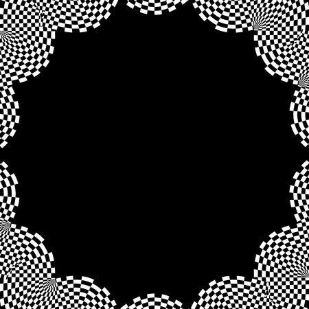 blocky: Checkered circular element. Abstract monochrome graphic with squared, checkered pattern.