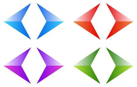 Colorful arrows, arrowheads. Shiny, glossy arrow symbols, buttons left, right. Vektorové ilustrace