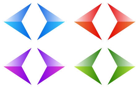 arow: Colorful arrows, arrowheads. Shiny, glossy arrow symbols, buttons left, right.