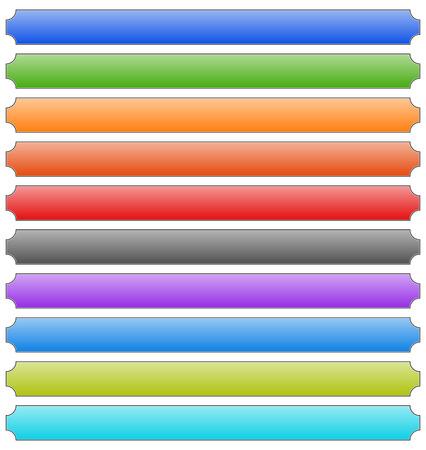 oblong: Set of banner, button, plaque backgrounds (10 colors)