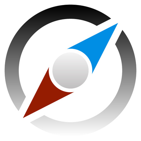 geocache: Compass icon for tour, trip, travel, guidance concepts. Illustration
