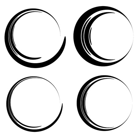 Set of sketchy, scribble circles. Hand drawn, ink circles in 4 widths