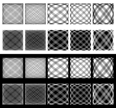 camber: Set of irregular grids, meshes. Intersecting lines with spherical distortions. Abstract monochromatic, geometric background, pattern set