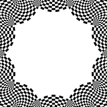 checkered pattern: Checkered circular element. Abstract monochrome graphic with squared, checkered pattern.