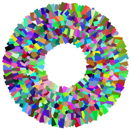 scattered: Circular mosaic element. Multicolor circle with scattered, random overlapping rectangles.