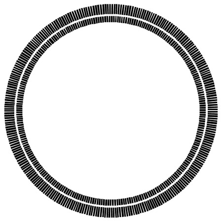 bw: Concentric circle element made of rectangles. Geometric circle design.