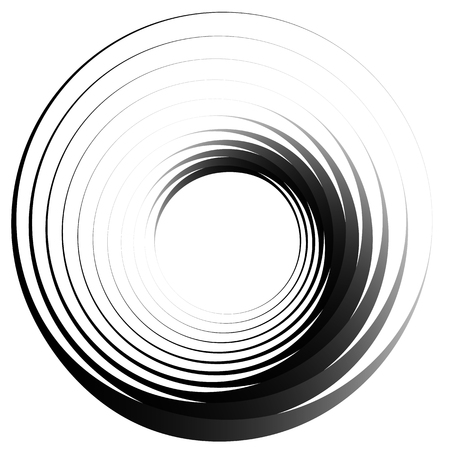 Concentric circles. Radiating, radial circles monochrome abstract element. Rotating, spiral, vortex element. Spirally circular shape.